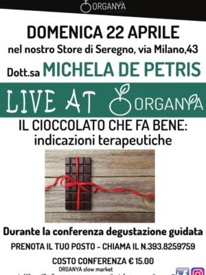 locandina live at organya il cioccolato che fa bene